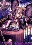 1girl antennae blue_eyes braid breasts bug butterfly butterfly_wings candle candlestand chair chandelier choker company_name crown crystal_ball fur_scarf gem goat indoors insect koushi_rokushiro looking_at_viewer magnifying_glass medium_breasts official_art scrunchie sidelocks sitting skull spread_legs table tablecloth tarot twin_braids wings wrist_scrunchie