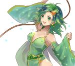 1girl :d ahoge arm_up bare_shoulders breasts cape cleavage collarbone detached_sleeves earrings eyebrows_visible_through_hair final_fantasy final_fantasy_iv green_cape green_eyes green_hair hair_ornament hand_up jewelry long_hair long_sleeves medium_breasts open_mouth rydia sasanomesi simple_background smile solo star star_earrings star_hair_ornament star_print whip white_background wide_sleeves