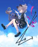 1girl ahoge animal animal_ears basket black_dress black_footwear bloomers blue_sky blush clouds day dowsing_rod dress from_side full_body grey_hair hand_up holding iris_anemone jewelry looking_away midair mouse mouse_ears mouse_tail nazrin necklace outdoors pendant pink_eyes pink_ribbon profile ribbon shoes short_hair sky smile socks solo star tail touhou triangle underwear white_legwear
