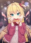 1girl akai_haato aran_sweater bangs blonde_hair blurry blurry_background blush box breath brown_sweater closed_mouth commentary_request dated depth_of_field eyebrows_visible_through_hair fingernails gift gift_box green_eyes hair_between_eyes hair_ornament hair_ribbon hands_up heart heart-shaped_box heart_hair_ornament highres holding holding_gift hololive jacket long_hair long_sleeves neps-l one_side_up open_clothes open_jacket puffy_long_sleeves puffy_sleeves red_jacket red_ribbon ribbed_sweater ribbon signature smile solo sweater upper_body valentine very_long_hair virtual_youtuber