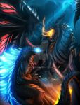 battle black_wings blue_eyes claws crossover deathwing dragon dragon_horns dragon_tail dragon_wings duel fighting fire ghostwalker2061 glowing glowing_eyes godzilla godzilla_(series) horns kaijuu large_wings monster no_humans orange_eyes sharp_teeth tail teeth warcraft wings world_of_warcraft