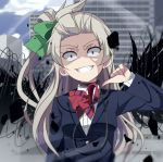 1girl accelerator accelerator_(cosplay) black_wings bow bowtie building choker clouds cloudy_sky commentary_request cosplay crazy crazy_eyes crazy_smile crossover green_ribbon grey_hair grin hair_ribbon highres long_sleeves looking_at_viewer love_live! love_live!_school_idol_project minami_kotori muse_loss one_side_up otonokizaka_school_uniform parody red_eyes red_neckwear ribbon school_uniform sky smile solo striped striped_neckwear thumbs_down to_aru_majutsu_no_index wings