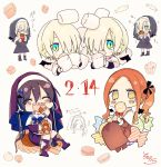 /\/\/\ 4girls :d bangs black_dress black_footwear black_ribbon black_wings blonde_hair blue_eyes blush blush_stickers boots brown_dress brown_eyes brown_footwear candy candy_wrapper checkerboard_cookie chibi chocolate_bar closed_eyes cookie dated detached_wings dress ear_piercing earrings food forehead green_eyes grey_background habit hair_over_one_eye hair_ribbon highres holding holding_food jewelry knee_boots lollipop long_hair macaron marshmallow mini_wings muffin multicolored multicolored_eyes multiple_girls nun open_mouth orange_hair original parted_bangs piercing purple_dress purple_footwear ribbon sharp_teeth short_hair side_ponytail signature simple_background smile sofra standing swirl_lollipop teeth translated very_long_hair white_background white_ribbon wings