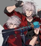 2boys belt belt_buckle black_gloves blue_coat blue_eyes bracelet buckle coat dante_(devil_may_cry) devil_may_cry devil_may_cry_4 eyebrows_visible_through_hair facial_hair fingerless_gloves gloves grey_hair holding holding_sword holding_weapon jewelry katana kia0110kia multiple_boys muscle nero_(devil_may_cry) red_coat short_hair silver_hair sleeves_rolled_up sword teeth upper_body weapon zipper_pull_tab