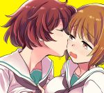 2girls akiyama_yukari bangs black_neckwear blouse blush brown_eyes brown_hair cheek_kiss closed_eyes eyebrows_visible_through_hair frown girls_und_panzer half-closed_eyes kiss lifted_by_another looking_at_another messy_hair multiple_girls neckerchief nishizumi_miho ooarai_school_uniform open_mouth saliva school_uniform serafuku shirt_lift short_hair simple_background wavy_mouth white_blouse yellow_background yukataro yuri