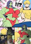 !!? 1boy 1girl abs amano_jack_(paradise_jack) black_sclera blonde_hair breasts comic commentary crescent_moon drooling emphasis_lines fantasy female_orc green_skin hands_on_hips heart hetero huge_breasts long_hair looking_at_another moon muscle muscular_female naked_ribbon navel night original pointy_ears purple_hair red_eyes red_ribbon ribbon silent_comic sweat sweating_profusely trembling valentine you_gonna_get_raped