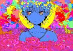 1boy 666haorare666 abstract_background bubble collarbone colorful eyebrows_visible_through_hair fence field flower flower_field looking_away multicolored multicolored_eyes no_nose original peony_(flower) portrait short_hair solo