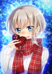 1girl :d aoba_moka aqua_eyes bang_dream! blue_background blurry blush bokeh box breath depth_of_field gift grey_hair heart-shaped_box highres holding holding_gift long_sleeves looking_at_viewer open_mouth plaid plaid_scarf red_scarf ribbed_sweater scarf short_hair sleeves_past_wrists smile snowing solo sweater tsurugi_hikaru upper_body valentine white_sweater