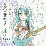 !? 1girl :o aqua_hair bang_dream! blue_bow bow brown_dress catchphrase commentary_request dress electric_guitar green_eyes guitar hanasakigawa_school_uniform highres hikawa_hina hikawa_sayo instrument jack_(jacknoeaka) long_hair long_sleeves music neck_ribbon objectification playing_instrument red_neckwear ribbon sailor_collar sailor_dress school_uniform solo sweatdrop translated twitter_username white_sailor_collar