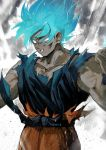1boy aoki_(fumomo) blue_eyes blue_hair blue_shirt clenched_hands clenched_teeth dirty dirty_clothes dirty_face dougi dragon_ball dragon_ball_super dragonball_z frown looking_down male_focus muscle outstretched_arms shirt short_hair son_gokuu spiky_hair standing super_saiyan_blue teeth torn_clothes upper_body wristband