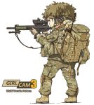 1girl aiming backpack bag bangs belt blonde_hair blue_eyes body_armor braid brown_gloves camouflage cargo_pants closed_mouth english_text full_body gloves green_hat green_jacket green_pants gun hair_tie harness hat helmet holding holding_gun holding_weapon jacket knee_pads light_frown long_sleeves medium_hair military military_operator original pants scope simple_background single_braid solo standing tactical_clothes tantu_(tc1995) union_jack utility_belt watch watch weapon weapon_request white_background