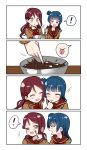 ! >_o 2girls 4koma :d :o :p ;d ^_^ absurdres alternate_hairstyle blue_hair blush bow bowl bowtie brown_shirt chocolate closed_eyes closed_eyes comic deadnooodles finger_sucking finger_to_another's_cheek food food_on_face hair_ornament hairclip highres holding holding_bowl long_hair looking_at_another love_live! love_live!_sunshine!! multiple_girls neckerchief one_eye_closed open_mouth red_neckwear redhead sakurauchi_riko school_uniform serafuku shirt side_bun silent_comic smile spoken_exclamation_mark spoken_expression stirring tongue tongue_out tsushima_yoshiko twintails v-shaped_eyebrows valentine violet_eyes whisk yellow_eyes yuri