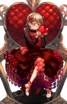 1girl :/ bangs bare_legs black_nails blush brown_eyes chair dress drill_hair earrings floral_print frilled_shirt_collar frills hairband hands_up heart heart_earrings high_heels highres holding holding_heart idolmaster idolmaster_cinderella_girls jewelry knees_together_feet_apart lace_sleeves light_brown_hair long_sleeves looking_down morikubo_nono nail_polish red_dress ringlets see-through_sleeves sitting solo symbol_commentary throne white_background yoyoyo_(dxayo)