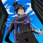 1girl apex_legends arm_at_side belt belt_buckle biribiri black_bodysuit black_hair blue_eyes blue_sky bodysuit breasts buckle building closed_eyes commentary day electricity from_below grey_scarf hair_between_eyes hair_bun highres medium_breasts ninja outdoors scarf short_hair sidelocks sky small_breasts solo thigh_strap utility_belt watermark web_address wraith_(apex_legends) zipper