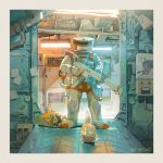 calico cat commentary dog english_commentary facing_viewer full_body gun hjl holding holding_gun holding_weapon mecha no_humans original solo spacecraft_interior spacesuit standing weapon