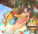 1girl 3boys akira0171 apple banana barefoot beach beach_chair blue_eyes blue_sky bracelet brown_hair day drink drinking_straw fire flame flower food fruit glass hair_flower hair_ornament hibiscus jewelry midriff multiple_boys necklace outdoors palm_tree polearm short_hair sitting sky smile soaking_feet spear tree turtle water weapon