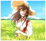 1girl :d ^_^ absurdres akagi_(kantai_collection) blue_sky border brown_hair closed_eyes closed_eyes clouds eyebrows_visible_through_hair grass hair_between_eyes hakama hat highres japanese_clothes kantai_collection mountain open_mouth roru_(lol_dessin) signature sky smile solo sun_hat tasuki upper_body white_border