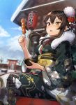 1girl bada_(jksh5056) bangs black_kimono blue_sky blurry blurry_background blush bowl breasts brown_eyes brown_hair building clouds commentary_request day depth_of_field floral_print flower food fur_collar girls_frontline hair_between_eyes hair_flower hair_ornament hairclip heterochromia highres holding holding_bowl holding_food japanese_clothes kimono lantern long_hair long_sleeves m1014_(girls_frontline) medium_breasts mountain obi outdoors paper_lantern print_kimono red_eyes red_flower sash sitting sky snow solo torii white_flower wide_sleeves