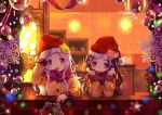 2girls 54hao :d arm_up bangs blush brown_jacket christmas christmas_lights christmas_ornaments commentary english_commentary eyebrows_visible_through_hair forehead hair_ornament hand_on_headwear hat highres indoors jacket long_hair long_sleeves multiple_girls open_mouth original parted_bangs plaid plaid_scarf purple_hair purple_scarf red_hat round_teeth santa_hat scarf siblings sisters smile snowflakes star teeth twins upper_body upper_teeth violet_eyes white_hair x_hair_ornament