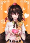 1girl bangs belt black_belt black_hair black_neckwear black_ribbon black_wings bow box commentary_request feathered_wings hair_between_eyes happy_valentine hat heart heart-shaped_box holding holding_box leaf-pattern_stripe leaf_print long_hair looking_at_viewer neck_ribbon orange_background pink_bow pink_lips puffy_short_sleeves puffy_sleeves re_(re_09) red_eyes ribbon shameimaru_aya shirt short_sleeves smile solo striped striped_background tassel tokin_hat touhou upper_body vertical-striped_background vertical_stripes white_shirt wings
