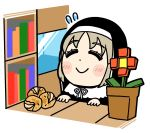 1girl bangs bkub blush blush_stickers bookshelf capelet closed_eyes closed_mouth commentary_request dot_nose eyebrows_visible_through_hair flower flower_pot flying_sweatdrops food grey_hair habit highres minecraft neck_ribbon nijisanji nun partial_commentary plant potato potted_plant red_flower ribbon simple_background sister_cleaire smile solo table virtual_youtuber white_background white_capelet white_ribbon window