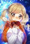 1girl bang_dream! bangs blonde_hair blue_background blurry blush bokeh box breath brown_eyes depth_of_field gift hair_ornament heart-shaped_box highres holding holding_gift ichigaya_arisa long_hair long_sleeves looking_at_viewer plaid plaid_scarf red_scarf ribbed_sweater scarf sidelocks sleeves_past_wrists snowing solo sweater tsurugi_hikaru twintails upper_body valentine white_sweater x_hair_ornament