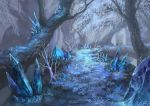 blue crystal fantasy floating fog forest grass nature no_humans original outdoors path pippi_(pixiv_1922055) road scenery snowing tree winter