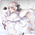 1girl :d black_gloves blurry blush breasts brown_eyes capelet cowboy_shot depth_of_field dress earmuffs elu_(nijisanji) floating_hair from_side fur-trimmed_capelet fur_trim gloves green_ribbon grey_background hair_ribbon hands_up long_hair long_sleeves looking_at_viewer looking_to_the_side medium_breasts nijisanji open_mouth plaid plaid_ribbon red_neckwear ribbon sidelocks silver_hair sleeves_past_wrists smile solo standing very_long_hair virtual_youtuber white_capelet white_dress wings yuuri_nayuta