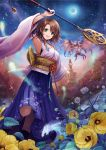 1girl :d arm_up black_footwear blue_eyes boots bracelet breasts brown_hair crescent_moon detached_sleeves eyebrows_visible_through_hair final_fantasy final_fantasy_x flower green_eyes hakama hakama_skirt heterochromia holding holding_staff japanese_clothes jewelry leaf long_sleeves looking_at_viewer medium_breasts moon obi open_mouth purple_hakama sasanomesi sash short_hair sky smile spirit staff star_(sky) starry_sky valefor white_flower wide_sleeves yellow_flower yuna