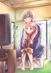1boy 1girl bangs barefoot bekkourico blue_jacket blue_pants blush couple hair_between_eyes holding_game_controller indian_style indoors jacket kakumeiki_valvrave l-elf lieselotte_w_dorssia long_sleeves pants parted_bangs parted_lips pink_hair playing red_eyes red_jacket silver_hair sitting track_jacket track_pants twintails violet_eyes