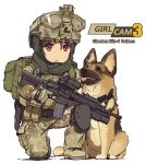 1girl backpack bag belt body_armor boots brown_footwear brown_hat brown_jacket brown_pants camouflage camouflage_jacket camouflage_pants combat_boots dog english_text german_shepherd gloves goggles goggles_on_headwear green_gloves grenade_launcher gun handgun hat helmet hijab holding holding_gun holding_weapon holster jacket knee_pads looking_at_viewer military military_operator one_knee original pants petting red_eyes scope simple_background solo tactical_clothes tantu_(tc1995) trigger_discipline utility_belt weapon weapon_request white_background
