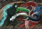 andrewdefelice animal_ears battle biting blood character_request claws clouds cloudy_sky crossover dragon dungeons_and_dragons electricity fighting glowing godzilla godzilla_(series) highres horn horns kaijuu large_wings monster multiple_heads no_humans open_mouth orange_eyes red_scales scales sharp_teeth sky smoke tail teeth tiamat_(dungeons_and_dragons) western_dragon wings yellow_eyes