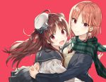 2girls :d ahoge bangs beret black_sailor_collar black_skirt blush bow breasts brown_hair closed_mouth commentary_request double_bun eyebrows_visible_through_hair green_scarf grey_bow hat hat_bow hug long_hair looking_at_viewer looking_to_the_side mini_hat multiple_girls necktie open_mouth original parted_bangs plaid plaid_scarf pleated_skirt red_background red_eyes red_neckwear sailor_collar scarf school_uniform serafuku shirako_miso shirt side_bun simple_background skirt small_breasts smile sweater_vest tilted_headwear two_side_up very_long_hair white_hat white_shirt
