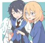 2girls andou_(girls_und_panzer) bangs bc_freedom_school_uniform beamed_eighth_notes black_hair black_vest blonde_hair blue_eyes blue_sweater brown_eyes cardigan cbgb commentary_request dark_skin digital_media_player dress_shirt earphones earphones eighth_note eyebrows_visible_through_hair girls_und_panzer green_background highres holding light_blush long_sleeves medium_hair messy_hair multiple_girls musical_note open_mouth oshida_(girls_und_panzer) outside_border pointing school_uniform shared_earphones shirt side-by-side smile sweater sweater_around_neck upper_body vest white_shirt