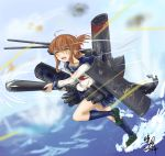1girl anchor anchor_symbol brown_hair bullet cannon damaged folded_ponytail glowing glowing_eyes inazuma_(kantai_collection) kantai_collection machinery mary_janes qingfeng_(clashu) shoes signature smokestack thigh-highs torpedo translation_request