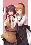 2girls absurdres apron bangs black_skirt blush breasts brown_hair casual collared_shirt embarrassed eyebrows_visible_through_hair flugel_(kaleido_scope-710) gift girls_frontline green_eyes hair_between_eyes hair_ribbon hair_rings half_updo high-waist_skirt highres holding holding_gift large_breasts long_hair long_sleeves looking_at_viewer m1903_springfield_(girls_frontline) multiple_girls necktie one_eye_closed one_side_up open_mouth outside_border pantyhose ponytail purple_hair red_eyes red_neckwear ribbon shirt sidelocks skirt sleeves_folded_up smile striped striped_shirt valentine very_long_hair wa2000_(girls_frontline)