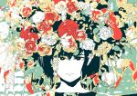1girl black_eyes black_hair flower hironoshousei leaf limited_palette looking_at_viewer no_nose original plant portrait red_flower short_hair solo too_many white_flower yellow_flower