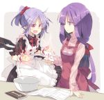 2girls alternate_hairstyle apron bat_wings book bow bowl card cat chocolate clenched_hands comic commentary_request dress eyebrows_visible_through_hair fangs hair_ornament hair_scrunchie holding holding_card lavender_hair long_hair long_sleeves multiple_girls open_mouth patchouli_knowledge pointy_ears ponytail purple_hair red_eyes remilia_scarlet satou_kibi scrunchie short_hair short_sleeves sleeves_past_wrists slit_pupils smile standing sweater touhou translation_request violet_eyes wings wrist_cuffs