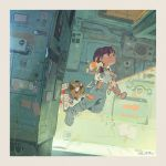 1girl boots brown_hair commentary dog english_commentary glasses goggles grey_footwear grey_pants hjl holding long_hair low_twintails mecha no_headwear no_helmet original pants serious solo spacecraft_interior spacesuit suspenders twintails v-shaped_eyebrows