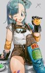 1girl ;d arm_rest artist_request bandage belt black_gloves black_ribbon blue_eyes blue_hair bulma denim dragon_ball dragon_ball_(classic) dragon_ball_(object) eyebrows_visible_through_hair gloves goggles goggles_around_neck grey_background grin hair_ribbon hand_up head_tilt holding jeans leg_up long_hair looking_away one_eye_closed open_mouth pants ponytail radar reeya ribbon shirt shounen_jump side_ponytail signature simple_background sitting sleeves_rolled_up smile solo sparkle thighs torn_clothes torn_jeans torn_pants upper_body white_shirt