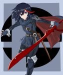 1girl absurdres belt black_hair blue_hair boots cape cosplay eyebrows_visible_through_hair fingerless_gloves fire_emblem fire_emblem:_kakusei gloves grey_background highlights highres holding holding_sword holding_weapon kibble3 kill_la_kill logo looking_at_viewer lucina lucina_(cosplay) matoi_ryuuko multicolored_hair nintendo redhead scabbard scissor_blade sheath short_hair signature solo streaked_hair super_smash_bros. sword thigh-highs thigh_boots two-tone_hair weapon