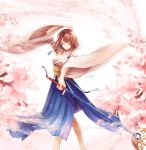1girl arm_up bangs bare_shoulders blue_hakama breasts brown_hair cherry_blossoms closed_eyes closed_mouth detached_sleeves eyebrows_visible_through_hair final_fantasy final_fantasy_x flower hakama holding holding_staff japanese_clothes jewelry long_sleeves medium_breasts necklace obi pink_flower ribbon-trimmed_sleeves ribbon_trim sasanomesi sash short_hair side_slit smile solo staff wide_sleeves yuna_(ff10)
