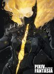1girl armor blonde_hair energy english_text et.m floating floating_hair glowing glowing_eyes glowing_hair horns mask mechanical mechanical_parts medium_hair pauldrons pixiv_fantasia pixiv_fantasia_1 pixiv_fantasia_new_world solo upper_body yellow_eyes yellow_horns