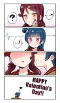 ! >:) 2girls 4koma ? absurdres bangs blue_hair blush cardiogram chocolate comic deadnooodles english_text flying_sweatdrops food food_on_face hair_ornament hairclip hand_on_own_face happy_valentine head_out_of_frame heart highres imminent_kiss kiss long_hair love_live! love_live!_sunshine!! multiple_girls open_mouth redhead sakurauchi_riko side_bun smile spoken_exclamation_mark spoken_heart spoken_question_mark sweatdrop tsushima_yoshiko twintails valentine violet_eyes yellow_eyes yuri