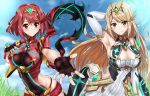 2girls absurdres armpits arms_up ass_visible_through_thighs bare_shoulders blonde_hair breasts brown_eyes cleavage elbow_gloves fingerless_gloves gloves highres hikari_(xenoblade_2) homura_(xenoblade_2) looking_at_viewer multiple_girls nez-kun nintendo outstretched_hand reaching_out red_eyes redhead short_hair short_shorts shorts smile thigh-highs thigh_strap tiara xenoblade_(series) xenoblade_2