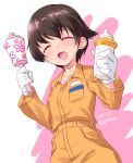 1girl :d baby_bottle bangs blush bottle brown_eyes brown_hair commentary_request dated eyebrows_visible_through_hair facing_viewer girls_und_panzer gloves highres holding jumpsuit kuzuryuu_kennosuke long_sleeves mechanic nakajima_(girls_und_panzer) open_mouth orange_jumpsuit rattle shirt short_hair smile solo standing twitter_username uniform upper_body white_background white_gloves white_shirt