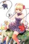 1girl arm_support bare_shoulders blonde_hair bow braid cellphone chains character_doll darwin's_game dress frilled_dress frills hair_ornament highres lolita_fashion long_hair looking_at_viewer official_art orange_eyes orange_legwear phone sabretooth_tiger shuka_(darwin's_game) sitting skull smartphone straddling stuffed_animal stuffed_toy sudou_kaname takahata_yuki thigh-highs twin_braids very_long_hair zettai_ryouiki
