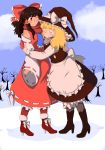 2girls absurdres ankle_boots bangs bare_shoulders bare_tree black_footwear black_hair blonde_hair bloomers blue_neckwear blush body_blush boot_bow boots bow breasts checkered checkered_legwear closed_eyes clouds daitoko detached_sleeves eyebrows_visible_through_hair fingernails full_body fur-trimmed_boots fur_trim hair_bow hair_ribbon hair_tubes hakurei_reimu hat hat_bow hat_ribbon height_difference high_heel_boots high_heels highres kirisame_marisa large_bow long_hair long_skirt long_sleeves looking_at_another medium_breasts medium_hair messy_hair multiple_girls one_eye_closed outdoors pantyhose pinstripe_legwear red_eyes red_footwear ribbon ribbon-trimmed_sleeves ribbon_trim scarf skirt skirt_set smile snow thick_eyebrows touhou tree underwear vest wavy_hair wide_sleeves witch_hat yuri