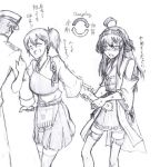 1boy 2girls admiral_(kantai_collection) azusa_(azusa0325) comic graphite_(medium) hakama_skirt hat japanese_clothes kaga_(kantai_collection) kantai_collection kongou_(kantai_collection) long_hair mechanical_pencil military military_uniform monochrome multiple_girls naval_uniform peaked_cap pencil personality_switch side_ponytail traditional_media translation_request uniform