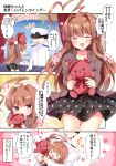 >_< 1boy 1girl admiral_(kantai_collection) ahoge bangs black_dress blush brown_eyes brown_hair closed_eyes closed_mouth comic commentary_request dress epaulettes eyebrows_visible_through_hair fang gift hat highres holding huge_ahoge jacket kantai_collection kuma_(kantai_collection) long_hair looking_at_viewer masayo_(gin_no_ame) military military_hat military_uniform monochrome musical_note naval_uniform open_mouth peaked_cap polka_dot polka_dot_dress smile speech_bubble standing stuffed_animal stuffed_toy teddy_bear translation_request uniform valentine